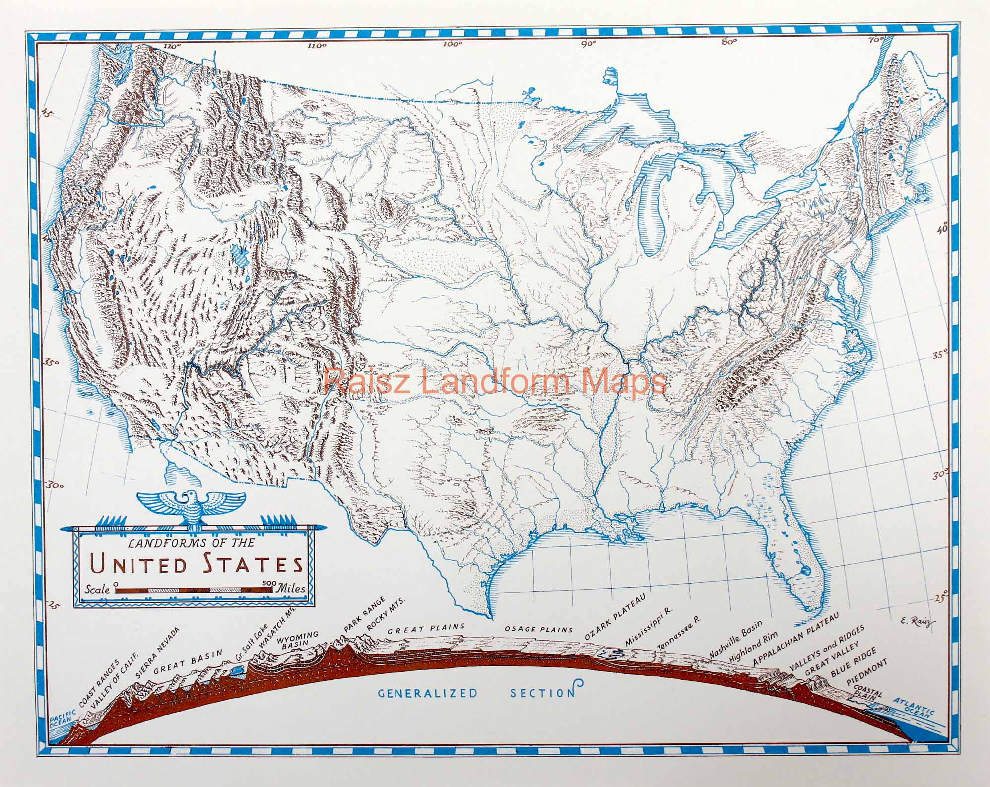 Landforms Of The United States With A Generalized Section Raisz - Landforms of the united states