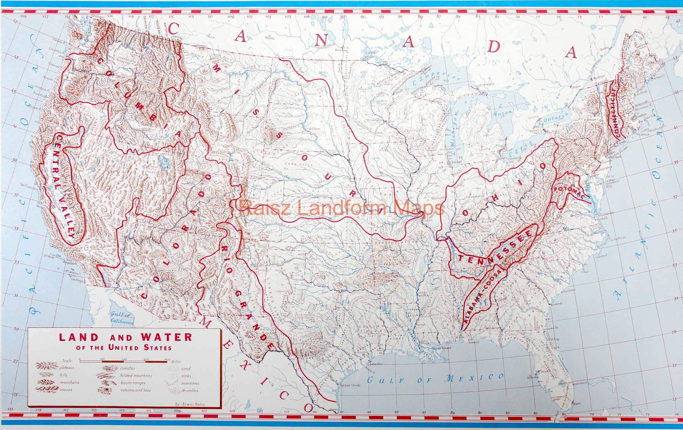 Land And Water Of The United States Raisz Landform Maps