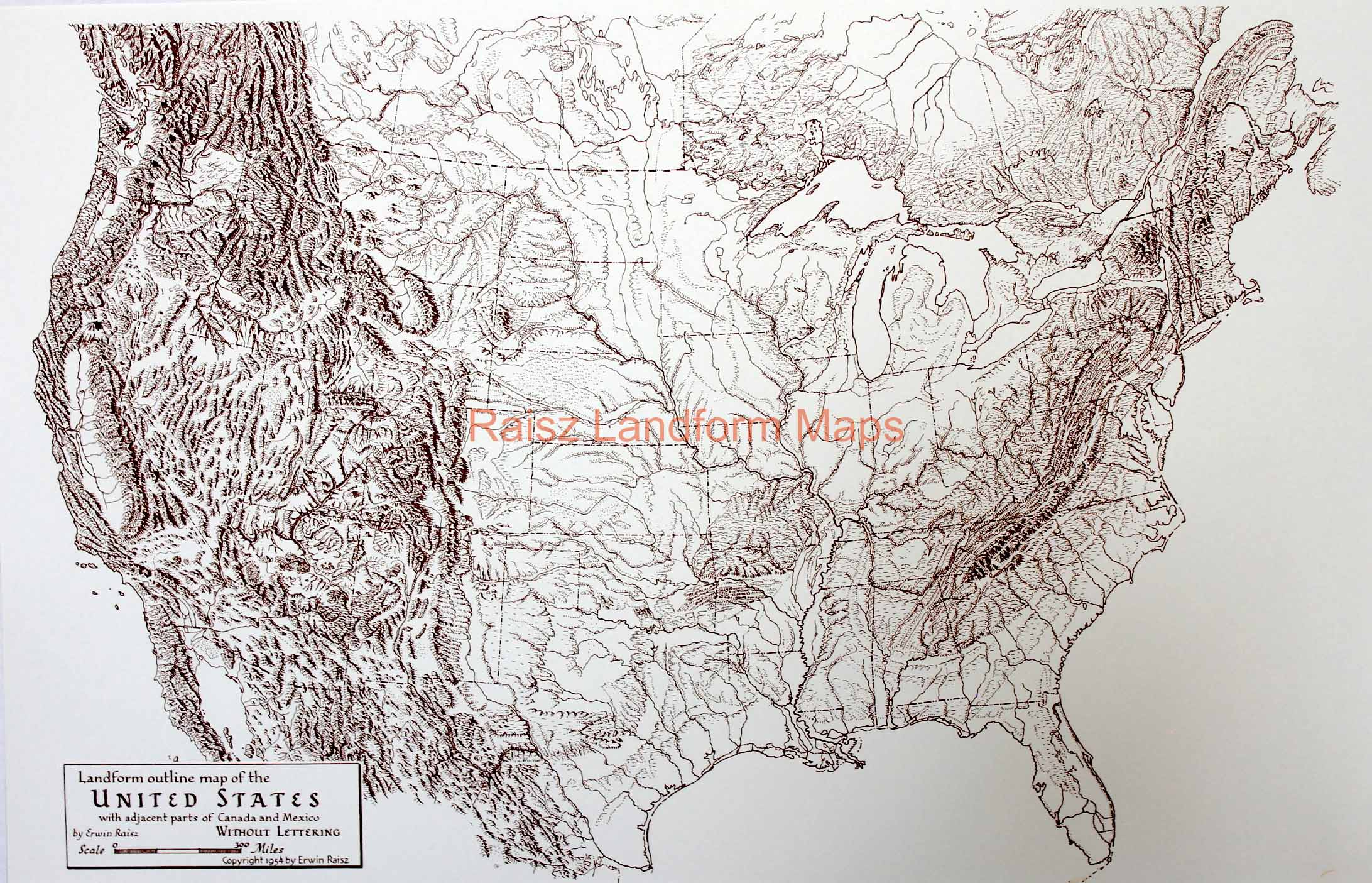 Landform Outline Map of the United States